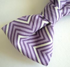 Purple Chevron Bow Tie