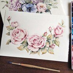 Tattoo, акварель, розы