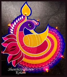 We have included beautiful diwali rangoli designs from shanthi's gallery. It's believed that rangoli designs started many centuries ago. Some refrences of rangoli designs are also available in our Easy Rangoli Designs Diwali, Rangoli Designs Latest, Rangoli Designs Flower, Free Hand Rangoli Design, Small Rangoli Design, Rangoli Ideas, Flower Rangoli, Lotus Rangoli, Diya Rangoli