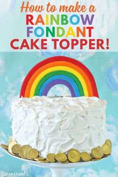 Learn to make a Fondant Rainbow Cake Topper. If you're making a rainbow cake, you'll want one of these cake toppers! They're easy, bright, and fun! Sweet Desserts, Delicious Desserts, Fondant Rainbow, Easy Cake Decorating, Decorating Ideas, Simple Cake Designs, Cake Recipes, Dessert Recipes, Rainbow Food