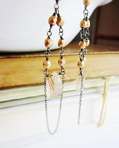 Golden Rutilated Quartz Chandelier Earrings by thelittlehappygoose, $58.00