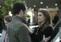 "Phillip Jennings and Elizabeth Jennings, a husband and wife who are secret Russian spies (played by real-life off-screen couple Matthew Rhys and Keri Russell) - ""The Americans"""