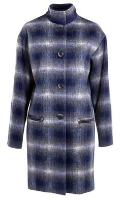 Famp;F Blue Checked Coat