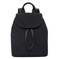 Tory Burch Penn Quilted Mini Backpack (845 SAR) ❤ liked on Polyvore featuring bags, backpacks, black, black bag, black mini backpack, backpacks bags, logo bags and strap bag