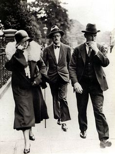 James Joyce and Nora Barnacle on the day of their wedding in London, 4 July 1931, Kensington Register Office