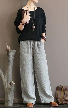 Linen Straight Pants For Women Black Stripe - Pantaloni da donna Casual Mode, Casual Wear, Casual Outfits, Mode Outfits, Fashion Outfits, Womens Fashion, Fashion Trends, Hijab Fashion, Linen Pants Outfit
