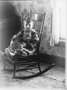 oldtimeycats:    Boy with Cat by Vermont Historical Society on Flickr.
