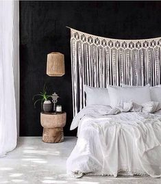Bedroom Wall Decor Above Bed Single 22 Ideas Wall Behind Bed, Bedroom Wall Decor Above Bed, Bed Wall, Bedroom Decor, Large Macrame Wall Hanging, Cool Walls, Modern, Home Decor, Macrame Design