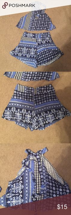Blue and White Print Short Set Blue and White Print Shorts and Crop Top Set. Never Worn... Size Large but could possibly fit a size Medium as well Sheinside Other