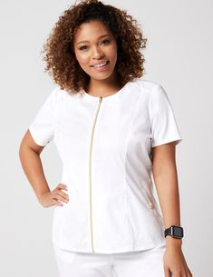 Biker Top in White is a contemporary addition to women's medical scrub outfits. Shop Jaanuu for scrubs, lab coats and other medical apparel. Scrub Island, Scrubs Outfit, Medical Scrubs, Scrub Tops, Shirt Blouses, Work Outfits, Women, Fashion, Belgium