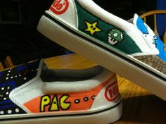 Items similar to Personalized Customized Cartoon 8-bit Nintendo Designed  Trendy Hand Drawn Canvas Shoes on Etsy cb9f01a95