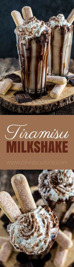Milkshake, inspired by the classic Italian tiramisu, is rich, creamy and oh so delicious. It will definitely blow your mind! Dessert Oreo, Bon Dessert, Dessert Drinks, Köstliche Desserts, Yummy Drinks, Delicious Desserts, Dessert Recipes, Yummy Food, Chocolate Desserts