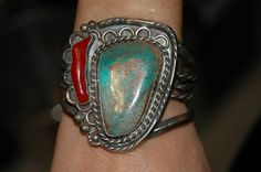 Old Pawn Navajo Royston Turquoise Coral heavy sterling bracelet - 100 grams