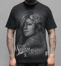 Cali Girl Sullen Black Tee Shirt: This 100% cotton men's t-shirt is available in sizes small - 5XL. It features artwork by Big Gus on the front and back. Retail Price: $23.99