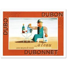 "Dubonnet A Leau"" Hand Pulled Lithograph by The re Society Orig A M Cassandra 