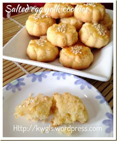 Salted Egg Yolk Cookies (蛋黄酥饼) Not bad, something different Egg Yolk Recipes, Baking Recipes, Cookie Recipes, Chinese New Year Cookies, New Years Cookies, Egg Yolk Cookies, Biscuit Cookies, Cake Cookies, Savoury Dishes