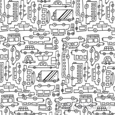Black and White Cars (seamless, repeating) handmade pattern design. ©ankepanke http://iheartpatterns.nl