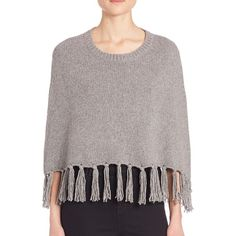 THEPERFEXT Olympic Fringe Cropped Cashmere Poncho (9.517.320 IDR) ❤ liked on Polyvore featuring outerwear, apparel & accessories, cashmere fringed poncho, crew neck pullover, cropped pullover, fringe poncho and cashmere pullover