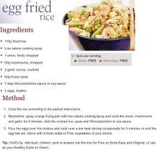 Egg Fried Rice :) Slimming World Diet, Slimming World Recipes, Cooking Recipes, Healthy Recipes, Free Recipes, Sliming World, Fried Rice With Egg, Rice Ingredients, Frozen Peas