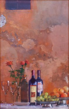 Bernie Fuchs (1932 - 2009) | Still Life with Wine and Roses | Telluride Gallery