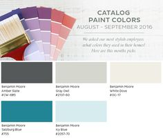 August - September 2016 paint colors from the Ballard Designs catalog Behr Paint Colors, Bedroom Paint Colors, Paint Colors For Living Room, Benjamin Moore Blue, Home Depot Paint, Blue Bedroom Decor, Sherwin William Paint, White Doves, Ballard Designs