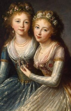 "Elisabeth-Louise Vigee Le Brun, ""Tea at Trianon: Daughters of Tsar Paul (Alexandra and Elena Pavlovna),"" 1796."