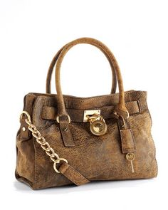 MICHAEL Michael Kors  Hamilton Satchel, Mocha Distressed Leather.