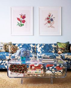 blue and white floral sofa with colorful pillows and blankets via lonny magazine. / sfgirlbybay