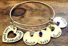 Nu Gold Family Bangle Bracelet, Family Name Bracelet, Personalized Family Bracelet, Hand Stamped Charm Bracelet, Gift for Mom, Mothers Day by JazzieJsJewelry on Etsy