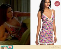 Carmen's floral lace trim chemise and pink robe on Devious Maids. Outfit Details: http://wornontv.net/17834