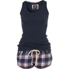 Check Vest and Short (160 BRL) ❤ liked on Polyvore featuring intimates, sleepwear, pajamas, pijamas, pyjamas, women, cotton pajamas, cotton sleepwear, cotton pajama set and short sleepwear