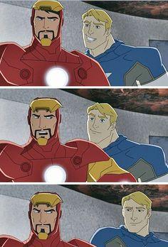"""Steve: """"Hey Tony, what's funnier than 24?"""" Tony: """"What?"""" Steve: """"25"""" Stony Avengers, Superfamily Avengers, Stony Superfamily, Loki Avengers, Spideypool, Marvel Jokes, Marvel Funny, Marvel Heroes, Marvel Dc"""
