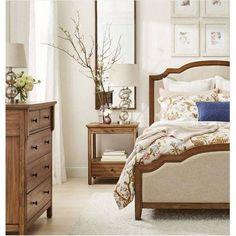 Shelburne Wood Nightstand with Drawer/Slide Out Shelf Brown - Threshold , Blue Beige Floral Comforter, Comforter Sets, Bedroom Furniture, Bedroom Decor, Master Bedroom, Bedroom Ideas, Bedroom Inspiration, Wood Nightstand, Table Lamp Base