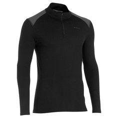 Pánske turistické tričko Techwool 190 na zips s dlhými rukávmi čierne