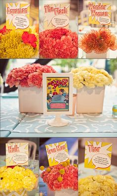 Comic book superhero wedding table names. Noted that you had some half girly/half comic book/superhero cakes.just in case you wanted to go in that direction. Marvel Wedding, Comic Book Wedding, Geek Wedding, Our Wedding, Wedding Stuff, Batman Wedding, Wedding 2015, Wedding Cake, Wedding Table Names