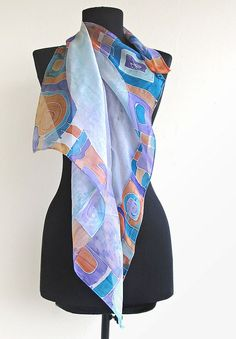 Batik Silk Scarf with shell and decorative by AHouseAtelier, $70.00