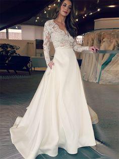 #TidebuyLooks for V-Neck Long Sleeves Appliques Pockets A-Line Wedding Dress