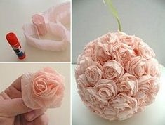 Once upon a time .: The bouquet-ball of paper flower Paper Flowers Craft, Flower Crafts, Diy Flowers, Fabric Flowers, Paper Crafts, Flower Paper, Easy Crafts, Diy And Crafts, Deco Rose