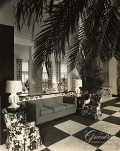 The Upper Lobby at The Greenbrier in 1948, by Dorothy Draper http://www.greenbrier.com