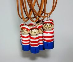 Where's Waldo Peg Doll Necklace Unique Hand Painted