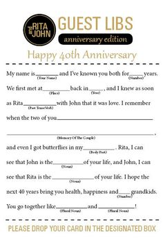 Anniversary Mad Libs by ForMomentsThatMatter on Etsy