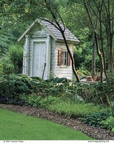 Carolyn's Shade Garden- peeling paint suits the woodland