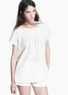 White  Cotton blouse   MANGO