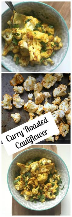 Curry Roasted Cauliflower: Curry Roasted Cauliflower is roasted with olive oil, curry and red pepper and topped with fresh cilantro to create a tender, flavorful side dish // A Cedar Spoon