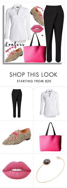 """""""Chic and pink"""" by jelena-topic5 ❤ liked on Polyvore featuring Jigsaw, NIC+ZOE, Charlotte Olympia, Fox, Lime Crime, Shay and loafers"""