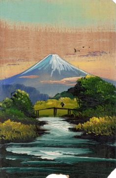 This exquisite hand painted Japanese postcard of Mount Fuji, on what seems to be very thin balsa wood, is from WW2. I found it in an Antique & Collector's Fair. By @gennepher