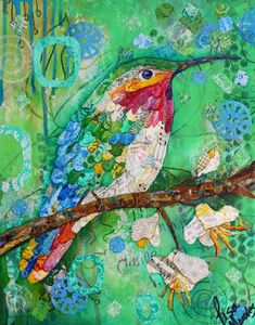 Bumblebee Hummingbird - Mixed Media Collage Print - 11 X 14 - Hummingbird Art - Collage Art - Lisa Morales