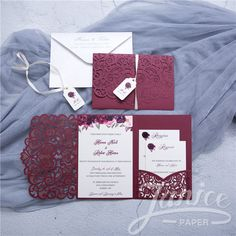c85653f724695 Graceful Love Heart Tri-fold Laser Cut Pocket Wholesale Wedding Invitation  WPFC2128 Laser Cut Invitation