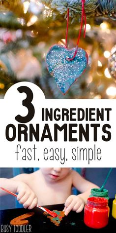 Easy Christmas Ornaments made with just 3 ingredients! So fun and so easy for toddlers and preschoolers. We love this!
