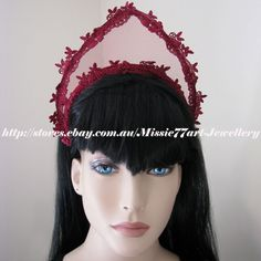 This delightful handmade tiara crown features Medieval styling with a modern twist. Perfect for Melbourne Cup, Crown Oaks Day, weddings or any special event.  Available from Missie77art Jewellery on ebay.